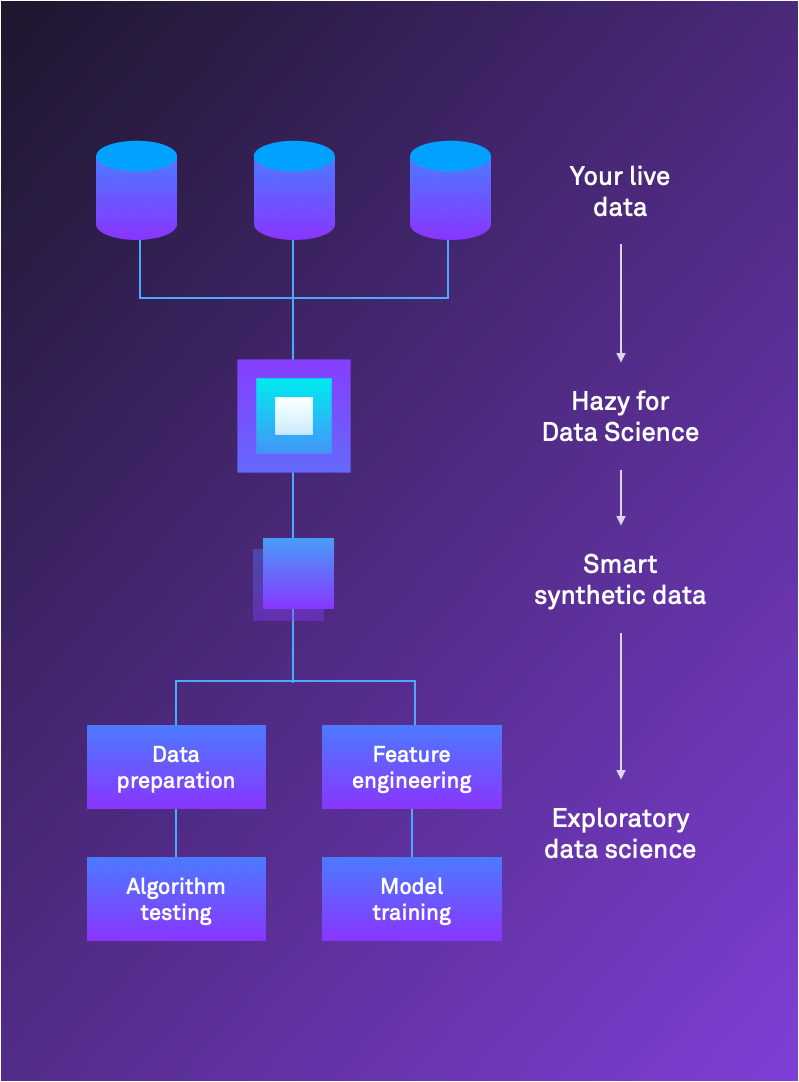 Hazy for Data Science and Analytics flow chart: Your live data → Hazy for Data Science → Smart synthetic data → Exploratory data science